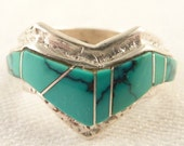 Size 8 Vintage Southwestern Sterling and Turquoise Geometric Band Ring
