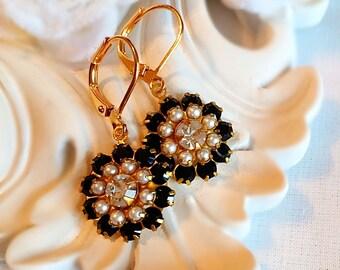 Black Flower Earrings - Romantic - Italian Renaissance Jewelry - FIORE Black Tie