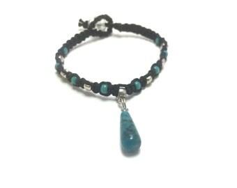Turquoise Stone Macrame Hemp Bracelet (0207)