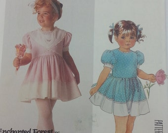 Enchanted Forest Inc Mccalls 2950 Girls Size 6 Dress Pattern Childrens Dress and Vest Pattern Pullover Dress and Vest Size 6 Uncut Pattern