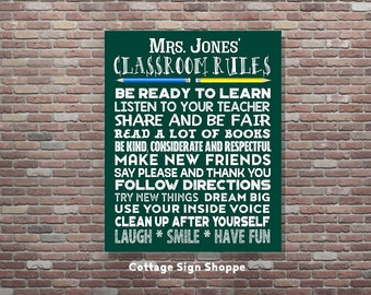Classroom Rules Sign, Personalized Classroom Rules, DIY PRINTABLE, Classroom Decor, Classroom Wall Art, School Rules Sign