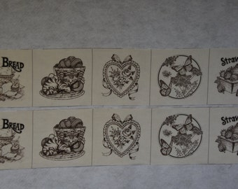 10 Picture Book Patches Brown on Muslin Blocks