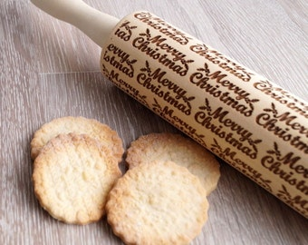 Christmas rolling pin, embossing rolling pin, Christmas themed embossing roller, cookies decorating rolling pin, Christmas gift