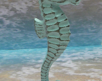 Seahorse Cast Iron Statue Figurine Beach Blue Shabby Chic Cottage Chic Beach House Home Decor