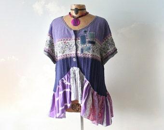 Bohemian Sweater Purple Shabby Top Eco Conscious Women's Clothes Ruffle Shirt Cardigan Sweater Coachella Tunic Boho Chic Sweater XL 'EVELYN'