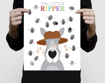 "australian kangaroo fingerprint guest book baby shower or birthday - 11x14"" print - unique flies aussie animal nursery art you little ripper"