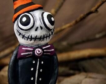Mr. Skelly - Handmade Paperclay Art Doll