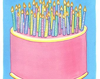 Original Art, 39 Candles on Birthday Cake, Gouche Painting
