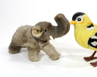 1980's Vintage Toy Miniature Elephant | Wooly Mammoth |   W Germany | Original Fur Toys | Collectible Toy |  Mini Animal Figure
