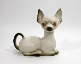 Vintage Siamese Cat Figurine Big Orange Rhinestone Eyes Mid Century Home Decor Accent Statue Grey Cream Feline CALIF USA PeachyChicBoutique