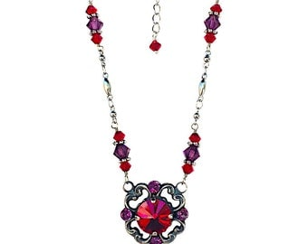 Pendant Necklace, Filigree Necklace, Rivoli Siam Red Necklace, Vintage Necklace with Crystal from Swarovski