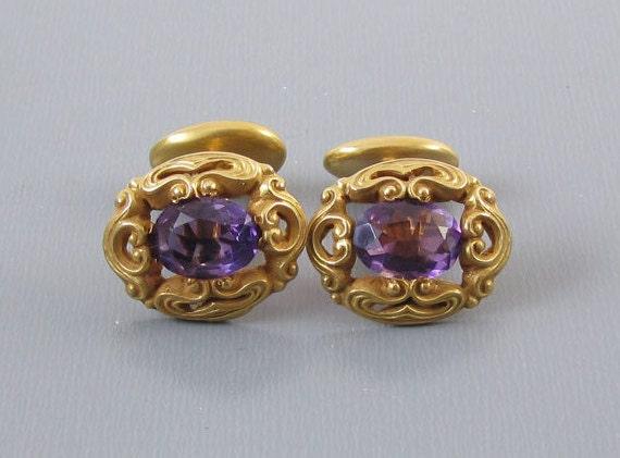 Antique Art Nouveau Edwardian 14k bloomed gold 3.2 carats purple amethyst cuff links unisex