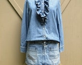 vintage Ruffled Denim Blouse / Prairie Style Denim Blouse / American Living