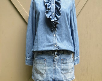 vintage Ruffled Denim Blouse / Prairie Style Denim Blouse / American Living
