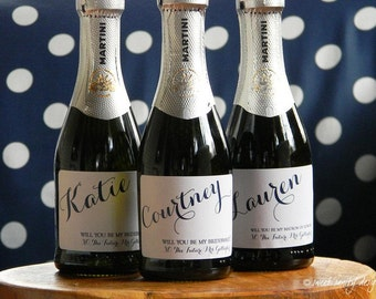 Will you be my Bridesmaid? Simple and Sweet Wedding Mini Champagne Bottle Labels //  Custom Wine Labels // Bridal Party