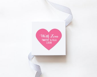 With Love Wedding Favor Stickers - Custom Labels // Heart Shaped Sticker