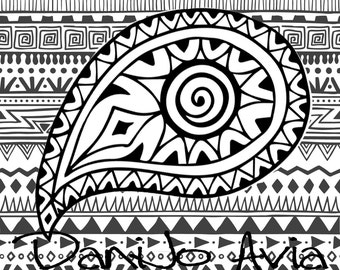Coloring page - Boho paisley with Native American inspired background