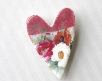 Porcelain Heart Brooch. Ceramic. Poppy Bouquet. Berry Red. Magenta. Red-Orange. Hot Pink. Sage. Hot Pink. White. Shabby Chic. Cottage Garden