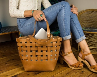 Woven Leather Tan Tote Bag