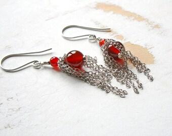 Chain Earrings, Silver Drop Earrings with Carnelian Gemstone Beads, Quirky Jewellery, Bohemian Earrings, Red Earrings, Unusual Jewellery