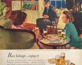 1949 Beer Belongs Magazine Advertisment -  Beer Ads, Magazine Ad, Vintage Ads, Paper Ephemera, Wall Decor