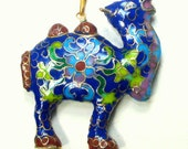 Unusual CLOISONNE CAMEL Pendant on Gold Metal Chain, Cute and Very Colorful Enamel Work, Cobalt, Turquoise, SeaFoam, Dusty Rose