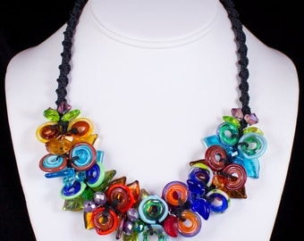 Diva Circle Explosion Necklace, Handmade Glass Jewelry