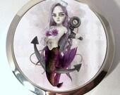 Compact Mirror - Silver Tone pocket Mirror - Sea Maiden