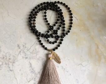 Tassel Necklace. Pale Pink Tassel. Long Beaded Necklace. Mala Style Necklace. Black Sardonyx Necklace. Black Stone Necklace. Cherry Quartz.