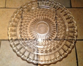Large Clear Bubble Glass Cake Plate