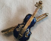 ON HOLD for bookbug Blue Enamel Violin Brooch Pin Musical Theme Stringed Instrument Goldtone