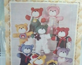 """Teddy Bear Sewing Pattern, Patch Press 15"""" Stuffed Bear and 8 Outfits, Craft Sewing Soft Toy Play Animals, Vintage Craft Pattern"""