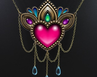 SALE Regularily 29.95 - Heart of Stones Necklace - Victorian Tattoo Style Statement Piece with Dangling Brass Chain and Czech Glass Accents