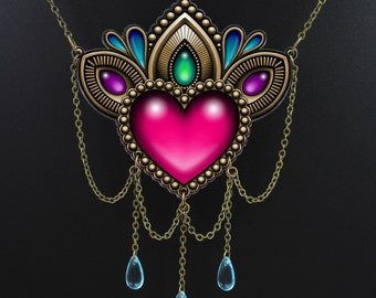 Heart of Stones Necklace - Victorian Tattoo Style Statement Piece with Dangling Brass Chain - Gems and Jewels Art Pendant