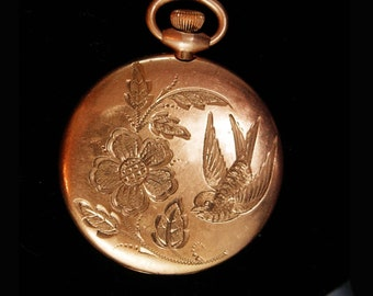 Reserved for aes 1800s Antique locket Rose gold mourning dove pocketwatch case Victorian estate jewelry heirloom keepsake