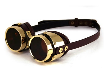 STEAMPUNK GOGGLES brown leather polished brass QUAD