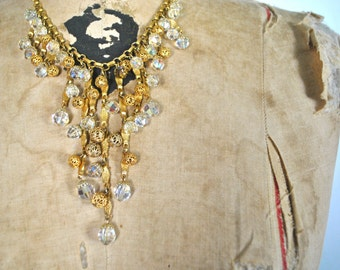 Gold and Crystal Necklace / 1970s Statement Bold BIB