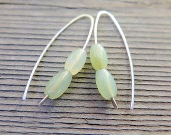 new jade earings. mint green jewelry. silver earrings. modern splurge.