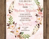 Custom Printed Floral Boho Baby Shower Invitations - Baby Boho Invitation - 1.00 each with envelope