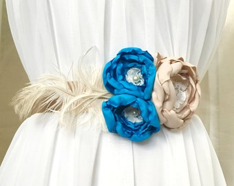 Blue and Taupe Sash with Hand Made Fabric Flowers and Cream Feathers with Lace Detail, Wedding Sash, Bridal Belt, Something Blue