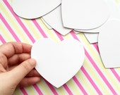 blank white love heart paper coasters. thick paper cards. diy label hang tags. party embellishment. holiday scrapbooking. set of 20