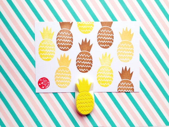 Pineapple stamp hand carved tropical fruit rubber