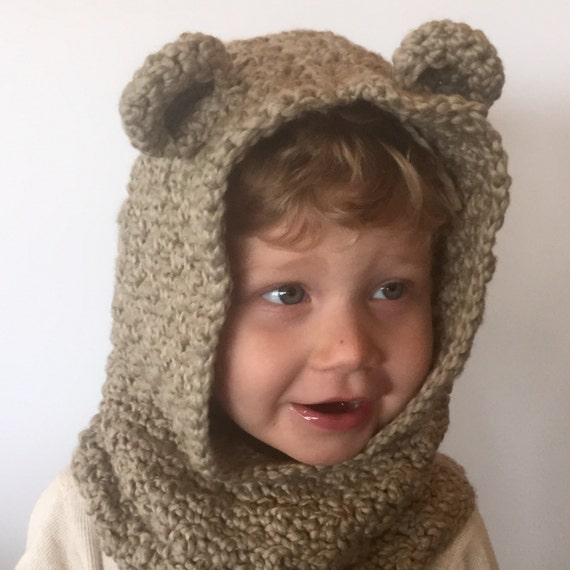 Crochet Baby Bear Cowl Pattern : Crochet PATTERN Bear Hooded Cowl 6 sizes Bear Hooded Cowl