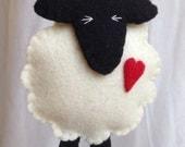 Hanging Decorations - Felt Sheep - Valentines - Wedding - Anniversary - Wool Felt - 7th Anniversary - 7th