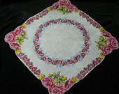 Vintage Scalloped Linen Pink and Yellow Cabbage Rose Floral Wedding Handkerchief or Doily, 9745