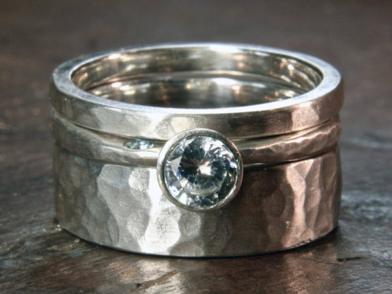 Something Blue - Stacking ring set, recycled silver, ethical lab grown moissanite & aquamarine. Hand made to order in the UK