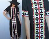 geometric midnight -- vintage 60s caftan dress with folded fabric geometric details S/M