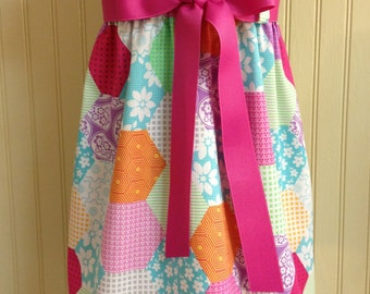 Zadee Dress... Cute Patchwork Fabric with choice of Ribbon Color... Girls Easter Dress....Girls Patchwork Jumper