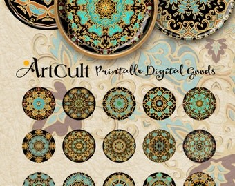 """1"""" (25mm) and 30mm size printable circle images ORNAMENTAL ROSETTES digital download for glass and resin pendants jewelry, ArtCult designs"""