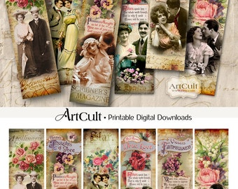 Printable download THIS IS LOVE Bookmarks Digital Collage Sheet Vintage Ephemera Valentine downloadable images, scrapbooking paper craft